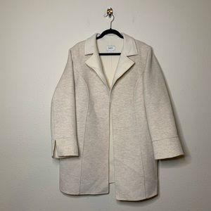 Neiman Marcus Ivory Wool Open Over Coat Jacket